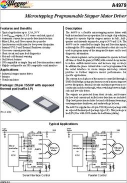 A4979 datasheet the a4979 is a flexible microstepping for Micro stepper motor datasheet