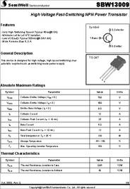 Sbw13009 Datasheet High Voltage Fast Switching Npn Power