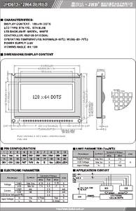 JHD613-12864 Datasheet For Lcd X Pdf on el foil, screen pinout, pin configuration, cursor location, display module, shield assembly, arduino nano, wiring adapter, display case stl, blue display black text, connection lpc1768,