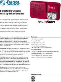 Sp3w1224mc Datasheet Selectable Output Wall Speaker Strobes