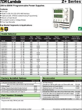 Z100-6-U datasheet - TDK-Lambda Z+ Programmable Power Supply