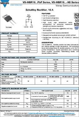 mbr1645 datasheet specifications diode type schottky