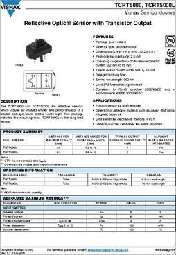 Tcrt5000 Datasheet Specifications Sensing Distance 0