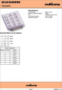 3X4 ARRAY MULTICOMP PLASTIC MCAK304NWWB KEYPAD