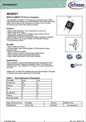 IPA80R280P7XKSA1 Pack of 10 MOSFET
