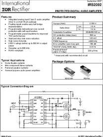 Irs2092 Datasheet Protected Digital Audio Amplifier