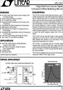 LTC1061CN High Performance Triple Universal Filter Building Block IC LTC1061