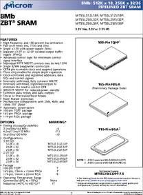 MT55L512L18P-1 datasheet - 8mb ZBT SRAM