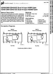 Cd4012 Datasheet Dual 4 Input Nor Nand Gate
