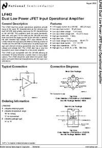 Lf442 Datasheet Lf442 Dual Low Power Jfet Input