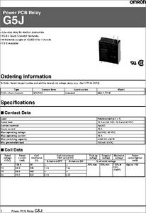 G5j 1 Tp M Datasheet G5j Power Pcb Relay Data Sheet