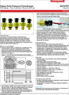 PX3AN2BS250PAAAX datasheet - Honeywell PX3 Heavy Duty Pressure