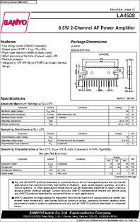 La4508 Datasheet 2 Channel Af Power Amplifier