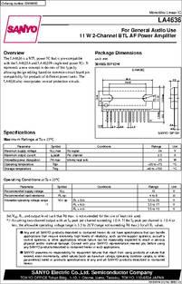 La4636 Datasheet 10 W Typical 2 Channel Btl Power