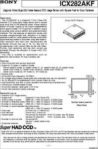 ICX282AKF datasheet - Diagonal 11mm(Type 2/3) Frame Readout
