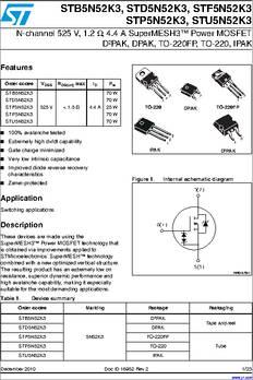 IPAK Tube Trans MOSFET N-CH 800V 3A 3-Pin 25 Items 3+Tab STU4N80K5