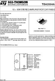 ...Amplifier For Car Radio.  Description.  Details, datasheet, quote.