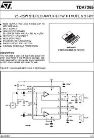 TDA7265 datasheet - 25 + 25W Stereo Amplifier With Mute ...