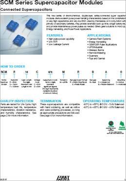 SCMR14C474MRBA0 datasheet - AVX Cylindrical SuperCaps offer