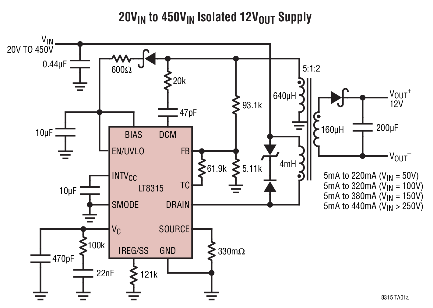 Lt8315 Datasheet The Is A High Voltage Flyback Converter With Linear Opto Isolator Circuits Photo