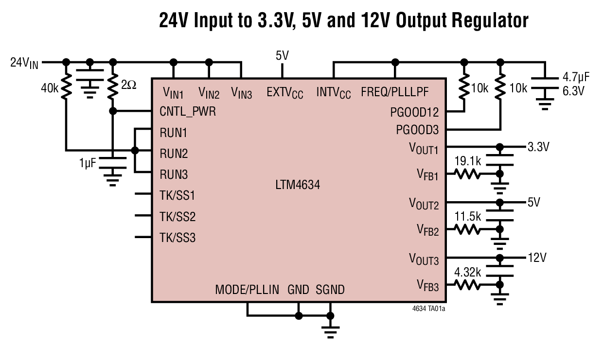 Ltm4634 Datasheet The Integrates Three Complete 5a 4a High 12v To 24v Dc Converter Circuit Photo