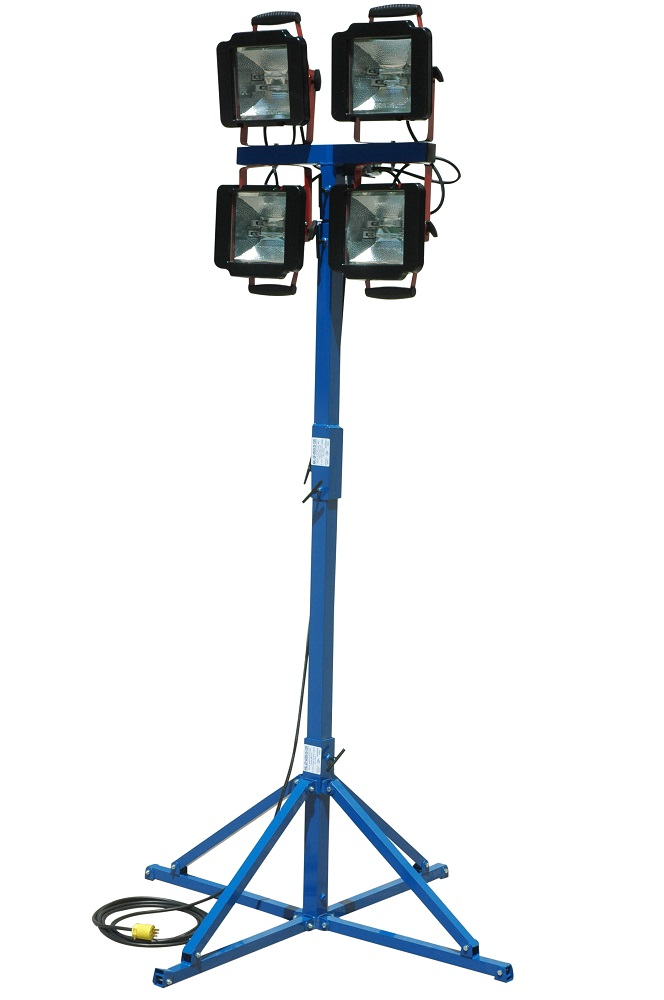 Quadpod Mount 7-12 Height 500 Watt Work Area LED Light Tower Temporary Construction Lighting