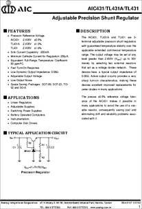 TL431 datasheet - Adjustable Precision Shunt Regulators