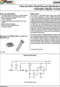 A3425EK-T datasheet - Ultra-sensitive Dual-channel Quadrature Hall