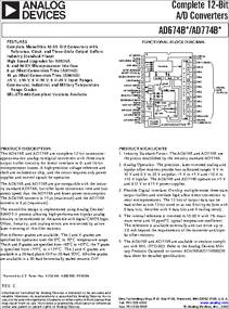 AD774BK datasheet - Complete 12-Bit A/D Converters