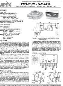 PA25 datasheet - Power Dual Operational Amplifiers