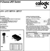 J174-j177 datasheet 30 v, p-channel jfet switch.