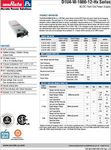 D1U4-W-1200-12-HA1C datasheet - Ac/dc Front End Power Supply