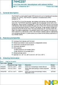 50 x NXP Decoder Demultiplexer 74HC237D,652 1-of-8 16-Pin Non-Inverting 2-6V