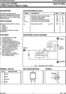 NXP BUK138-50DL TO-252 Logic level TOPFET D-PAK