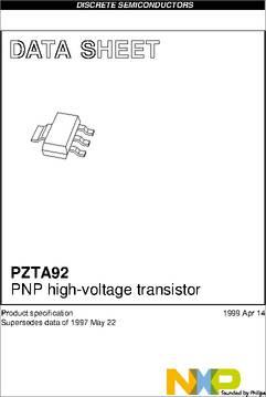 Pzta92,115 datasheet specifications: transistor type: pnp.