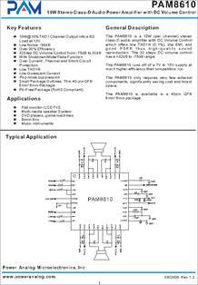 Pam8610 Datasheet 10w Stereo Class D Audio Power