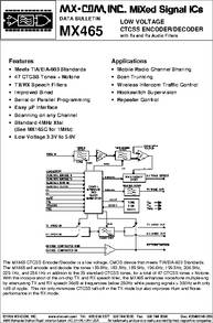 MX465 datasheet - Low Voltage CTCSS Encoder/decoder With TX And RX Audio