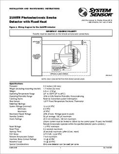 2100TR 2100tr datasheet photoelectronic smoke detector with fixed heat system sensor dnr wiring diagram at edmiracle.co