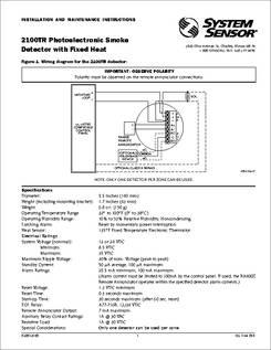 2100tr Datasheet Photoelectronic Smoke Detector With