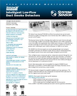 A5053 Datasheet Intelligent Low Flow Duct Smoke Detectors