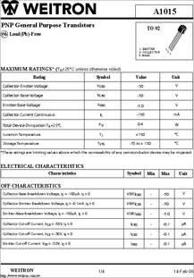 A1015 A Datasheet Pnp Transistor on circuit symbol, how use, amplifier circuit, energy band, gain circuit,