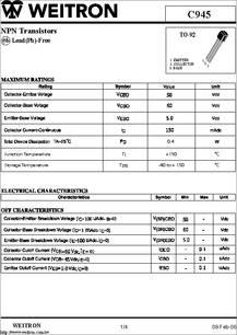 C945 Datasheet Npn Transistors