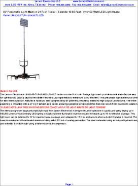 120-277 Extends 3.5-10 Portable LED Telescoping Light Tower 48 Watts -Spot /& Flood-Pigtail-Single Switch Adjustable U-Bracket