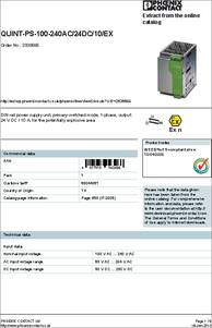 QUINT-PS-100-240AC/24DC/10/EX datasheet - Specifications: Accessory