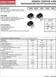 4N33 datasheet - 6-Pin Photodarlington Coupler