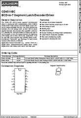 CD4511BCN datasheet - BCD-to-7 Segt Latch/decoder/driver