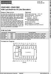 CD4514BCN datasheet - 4-Bit Latched/4-to-16 Line Decoders