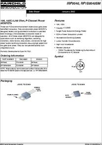 IRF9540 datasheet - 19a, 100v, 0.200 Ohm, P-channel Power MOSFETs
