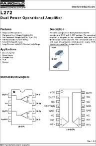 Datasheet) l272 pdf ® l272 dual power operational amplifiers.