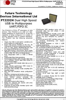 FT2232H datasheet - The FT2232H is FTDI's 5th generation of USB devices